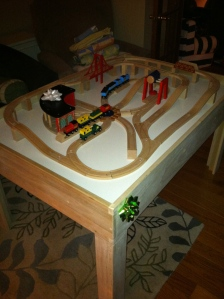 Christmas train table.  Made by Brian...and Santa.
