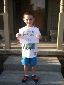 Cameron's 1st Day of Preschool 2013