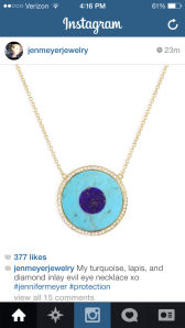 "Someday I will have this Jennifer Meyer ""evil eye"" necklace."